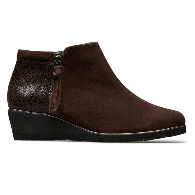 Van Dal Cass Coffee Suede Crackle Ankle Boots